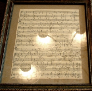 Korngold had a page of the rescued manuscript symbolically framed