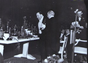 Korngold with Jerome Kern accepting Robin Hood Oscar