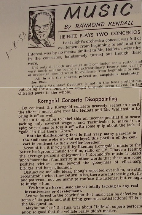 Raymond Kendell's damning New York Review of Korngold's concerto