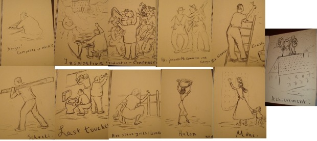 Upon Korngold's final return from Europe, he devoted all of his energies into remodelling his house with the help of his family and the wives (and children) of George and Ernst. Luzi sketched caricatures of everyone hard at work, a selection of which are shown.