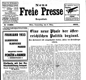 The surprisingly sober headline announcing 'A New Phase in Austrian Politics as Parliament is Excluded' on March 9. 1933