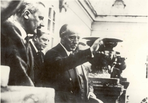According to Gedye, Runciman spent his free time investigating the situation of the Sudeten Germans being entertained by wealthy supporters of Konrad Henlein – Runciman is here pictured at the estate of a Czech-German aristocrat