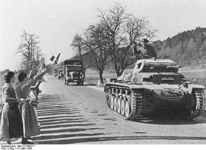 The Wehrmacht is greeted by Austrian civilians at the border, March 1938