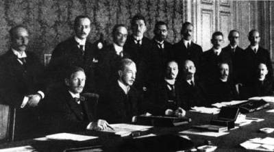 The creation of the First Austrian Republic with Dr. Karl Renner, first president 3 from right sat at the table