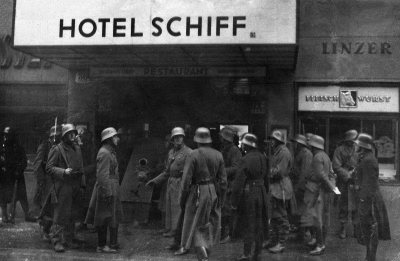 Major Fey's attempts to remove the Socialist arsenal of weapons at the Hotel Schiff in Linz resulting in workers across Austria rising up in rebellion, resulting in a short, but bloody Civil War in February 1934
