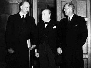 Joseph Kennedy, Winston Churchill and Sumner Welles at the Admiralty