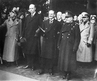 Lord Halifax and Neville Chamberlain with assorted Italian Fascists, including Benito Mussolini (whom previously Churchill had also lauded as a bulwark against Bolshevism) Chamberlain's attitude to Fascism was notoriously ambivalent with a brother-in-law who was a member of the BUF (British Union of Fascists)