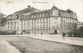 A historic photo of the 'Academy Wing' of Vienna's Konzerthaus, where the exil.arte Center will be located, occupying the entire 'beletage' or the floor with the largest windows (2nd in Europe, 3rd in America)