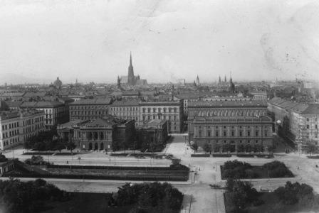 Location of Music Academy in Vienna in 1912 in the Musikverein to the right in the photo with Künstlerhaus to the left and St Stephen's Cathedral in the background