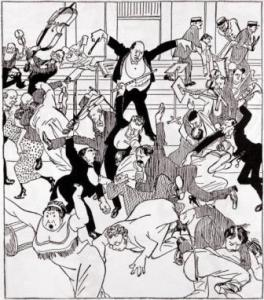 Cartoon of 'Skandalkonzert' at the Musikverein in 1913