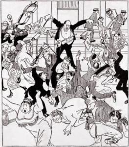 Cartoon of 'Skandalkonzert' at the Musikverein in 1913