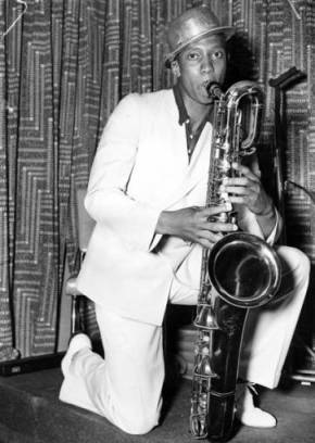 American Olympic champion Jesse Owen photographic with a saxophone – an image Nazis would use and turn into poisonous propaganda