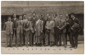 The first International Society for Contemporary Music (ISCM) Festival in Salzburg 1922 with Ethel Smythe Standing next to Paul Hindemith in the middle
